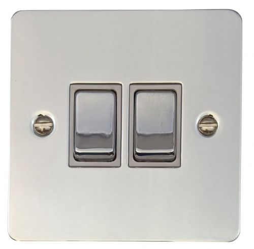 G&H FC202 Flat Plate Polished Chrome 2 Gang 1 or 2 Way Rocker Light Switch